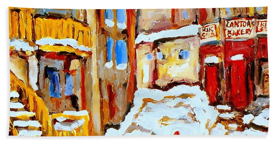 Hockey Art Hand Towel featuring the painting Hockey Art Montreal City Streets Boys Playing Hockey by Carole Spandau