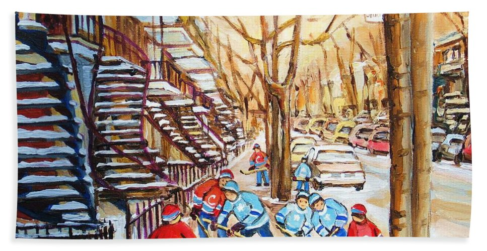 Montreal Bath Towel featuring the painting Hockey Game Near Winding Staircases by Carole Spandau
