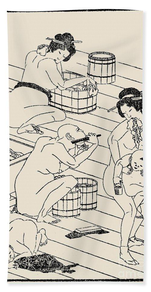 1836 Bath Towel featuring the photograph Hokusai: Bathhouse, C1836 by Granger