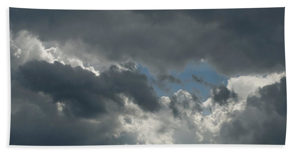 Photography Hand Towel featuring the photograph Hole In The Clouds by Steven Natanson