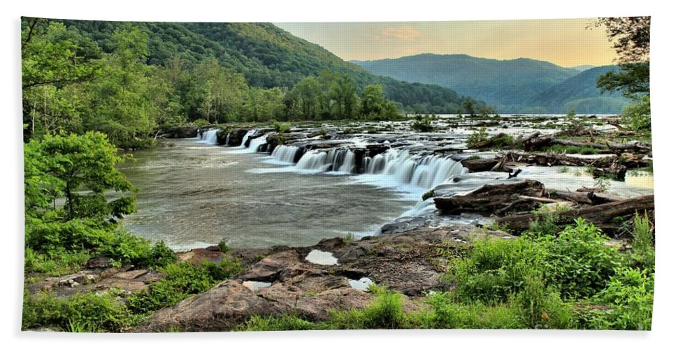 Sandstone Falls Bath Sheet featuring the photograph Hole In The New River by Adam Jewell