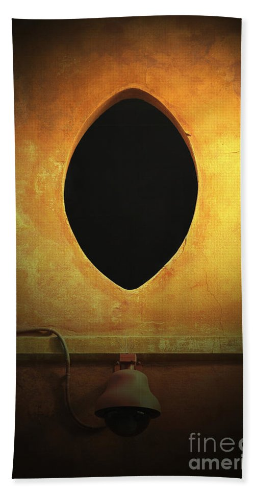 Hole Bath Sheet featuring the photograph Hole In The Wall With Lamp by Mike Nellums