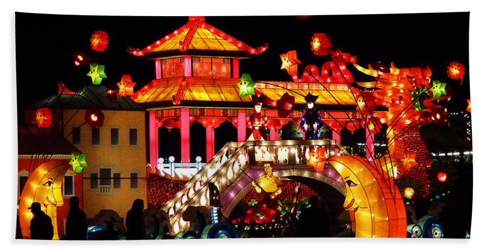 Asia Bath Sheet featuring the photograph Holiday Lights 9 by Xueling Zou