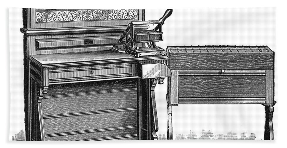 1890 Hand Towel featuring the photograph Hollerith Tabulator, 1890 by Granger