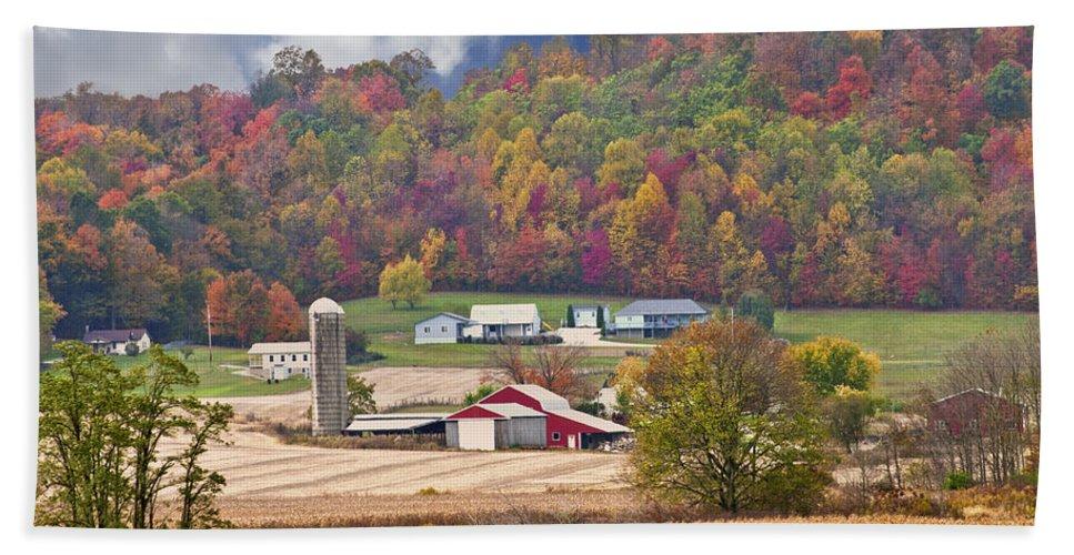 Beans Hand Towel featuring the photograph Holstein Cattle Farm by Randall Branham