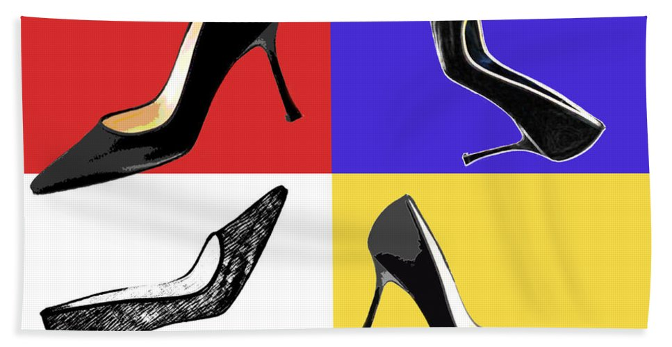 Shoes Heels Pumps Fashion Designer Feet Foot Shoe Hand Towel featuring the painting Homage To Mondrian by Elaine Plesser