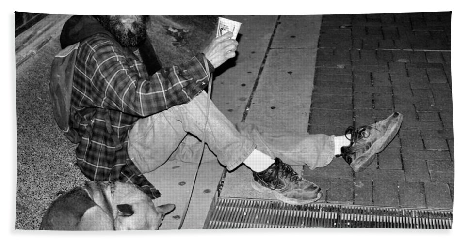 Homeless Hand Towel featuring the photograph Homeless With Faithful Companion by Kristin Elmquist