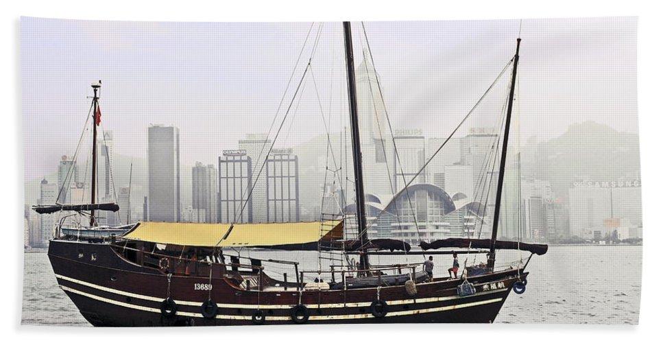 Wooden Sailboat Motoring Bath Sheet featuring the photograph Hong Kong Junk by Sally Weigand