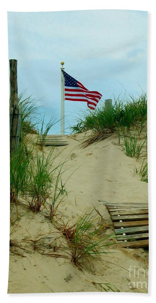 Beach Hand Towel featuring the photograph Honor by Art Dingo