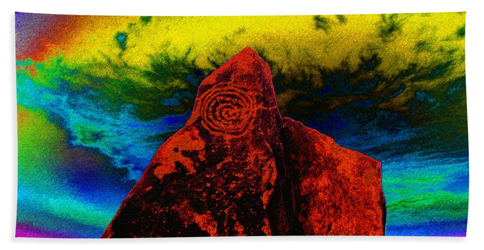 Art Bath Sheet featuring the painting Hopi Sky by David Lee Thompson