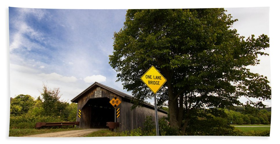 Covered Bridge Hand Towel featuring the photograph Hopkins Covered Bridge by Stephanie McDowell