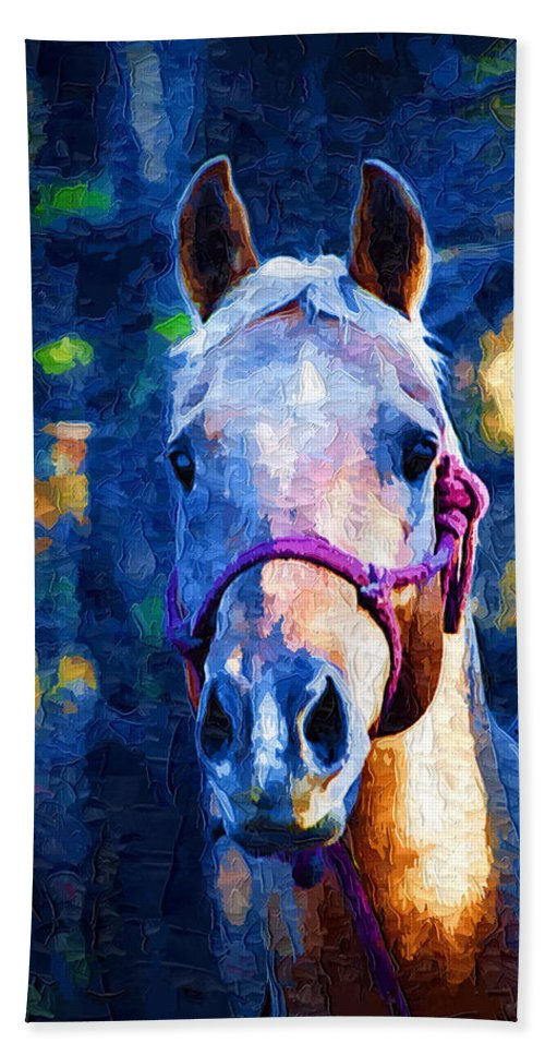 Horse Bath Sheet featuring the painting Horse Beautiful by Kathy Clark