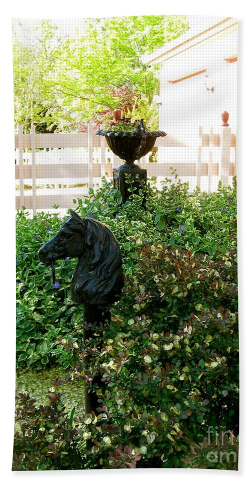Horse Head Hitching Post Hand Towel featuring the photograph Horse Hitching Post 2 by Nancy Patterson