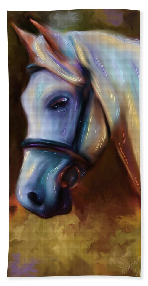 Horse Painting Hand Towel featuring the painting Horse Of Colour by Michelle Wrighton