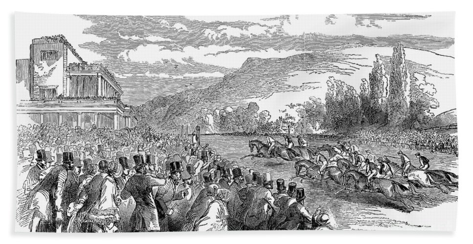 1850 Bath Sheet featuring the photograph Horse Racing, 1850 by Granger