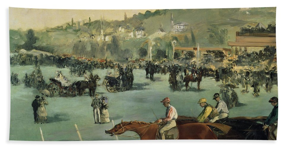 Impressionist; Landscape; Race Track; Course; Grandstand Bath Sheet featuring the painting Horse Racing by Edouard Manet