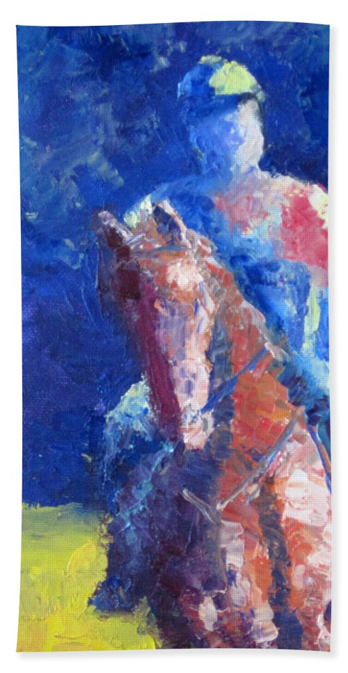 Horse Rider Hand Towel featuring the painting Horse Rider by Terry Chacon