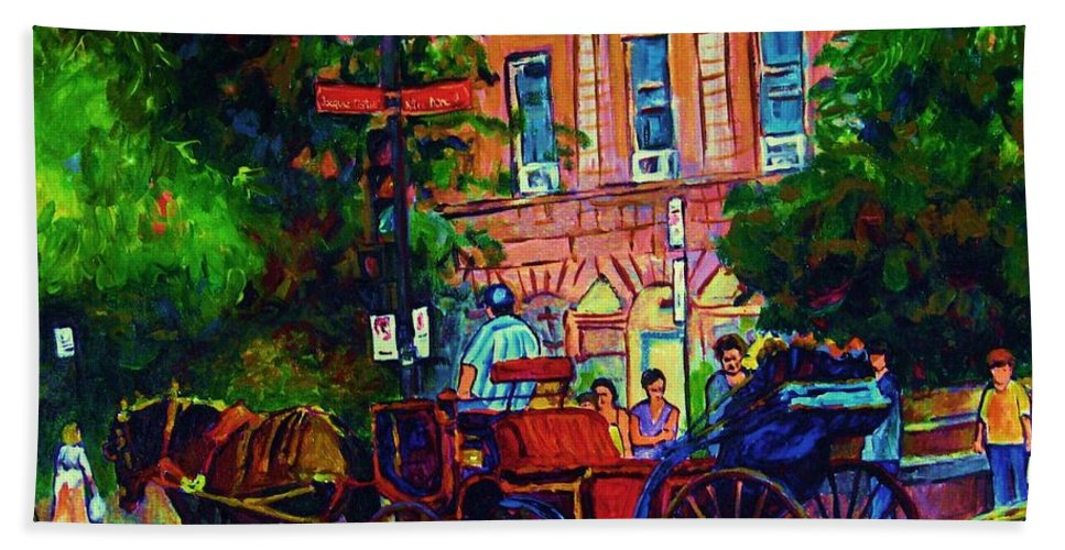 Rue Notre Dame Bath Towel featuring the painting Horsedrawn Carriage by Carole Spandau