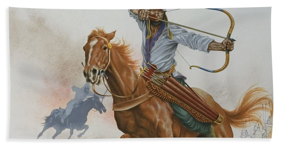 Uzbekistan; Horseman; Horse; Bow And Arrow; Weapon; Fight; Battle; Traditional Costume; Quiver; Asia; Warrior; Warriors Bath Sheet featuring the painting Horsemen From The Steppes by English School