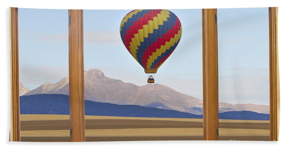 'hot Air Balloons' Hand Towel featuring the photograph Hot Air Balloon Colorado Wood Picture Window Frame Photo Art Vie by James BO Insogna