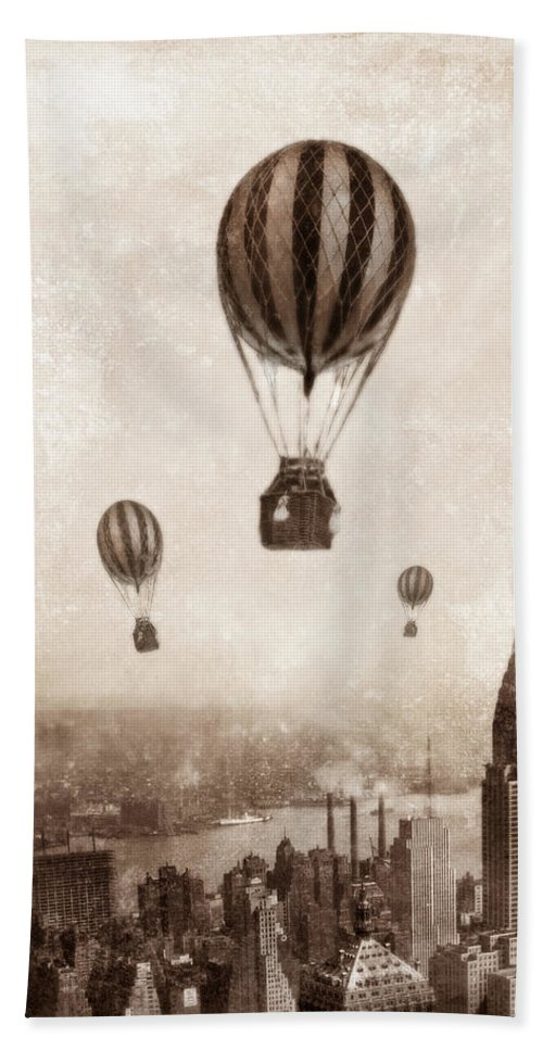Balloon Bath Sheet featuring the photograph Hot Air Balloons Over 1949 New York City by Jill Battaglia