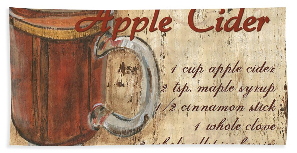Hot Apple Cider Bath Sheet featuring the painting Hot Apple Cider by Debbie DeWitt