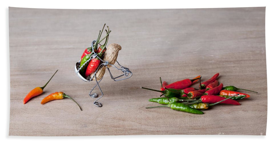 Peanut Hand Towel featuring the photograph Hot Delivery 02 by Nailia Schwarz