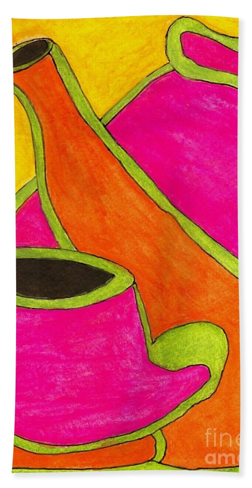 Spiritual Bath Sheet featuring the painting Hot Tea... Cold Juice by Angela L Walker
