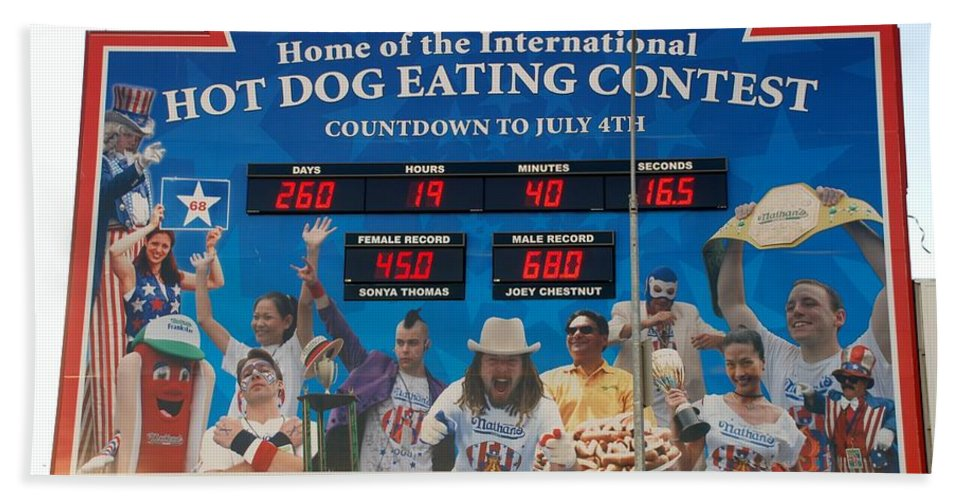 Brooklyn Hand Towel featuring the photograph Hotdog Eating Contest Time by Rob Hans