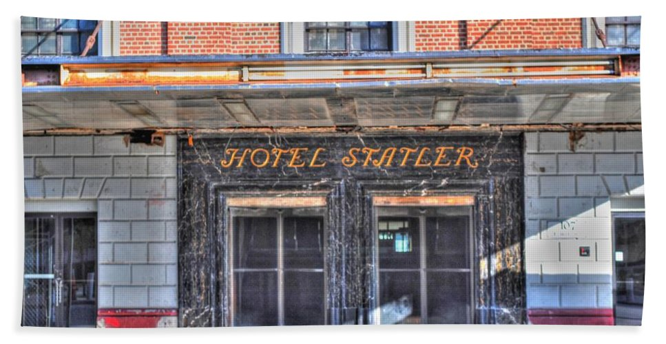 Bath Sheet featuring the photograph Hotel Statler by Michael Frank Jr