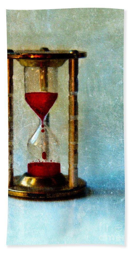 Hour Glass Bath Sheet featuring the photograph Hour Glass Dripping Blood by Jill Battaglia