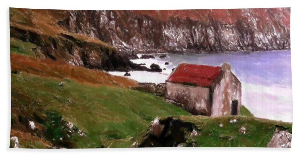 Oil Pastel Ireland Beauty Country Countryside Painting Landscape Cottage Old House Coast Romance Water Green Grass Mountain Expressionism Impressionism Cliff Cliffs Bath Sheet featuring the pastel House At The Coast by Steve K