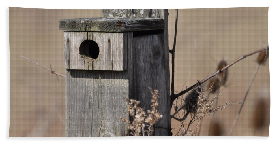 Bird House Bath Sheet featuring the photograph House For Rent by Ronald Grogan