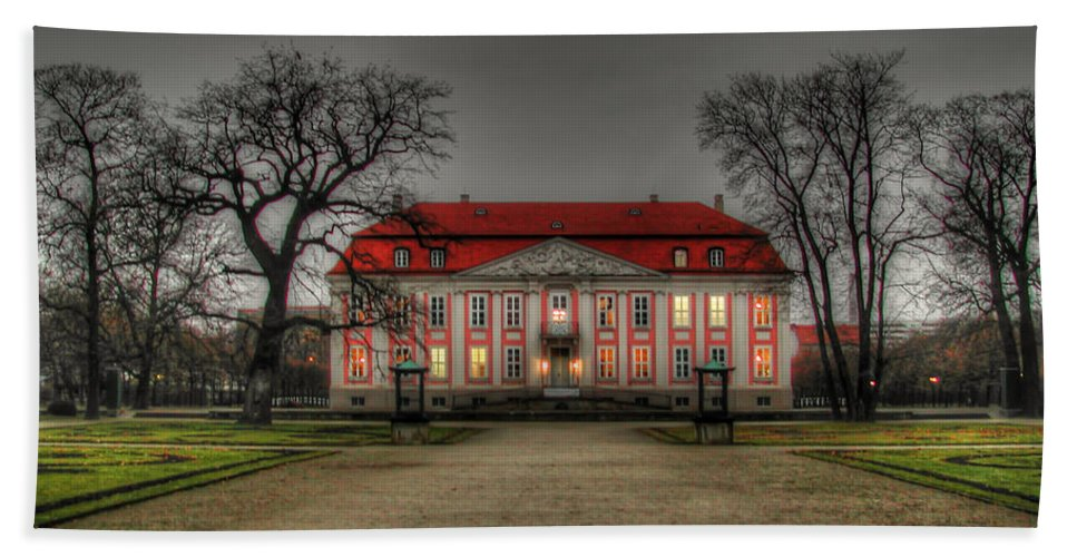 House Bath Sheet featuring the photograph House Illuminated And With Trees Branches by Mats Silvan