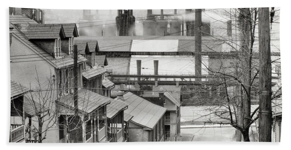 People Hand Towel featuring the photograph Houses And Steelmill by Photo Researchers