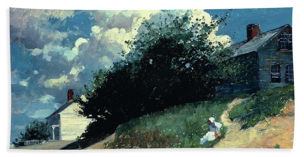 Houses On A Hill Bath Sheet featuring the painting Houses On A Hill by Winslow Homer