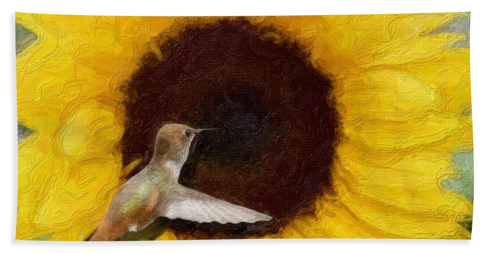 Hummingbird Bath Sheet featuring the photograph Hummingbird On Sunflower by Diana Haronis