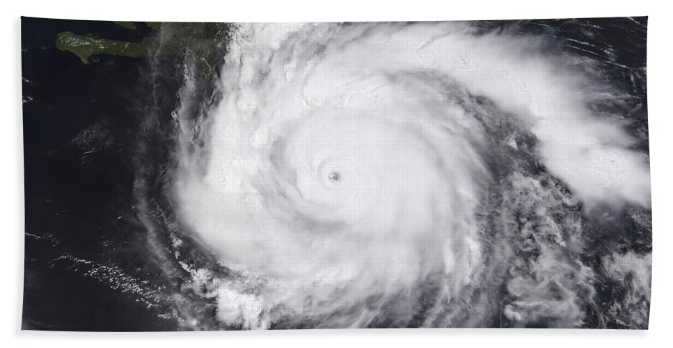Circulating Bath Sheet featuring the photograph Hurricane Dean In The Atlantic by Stocktrek Images