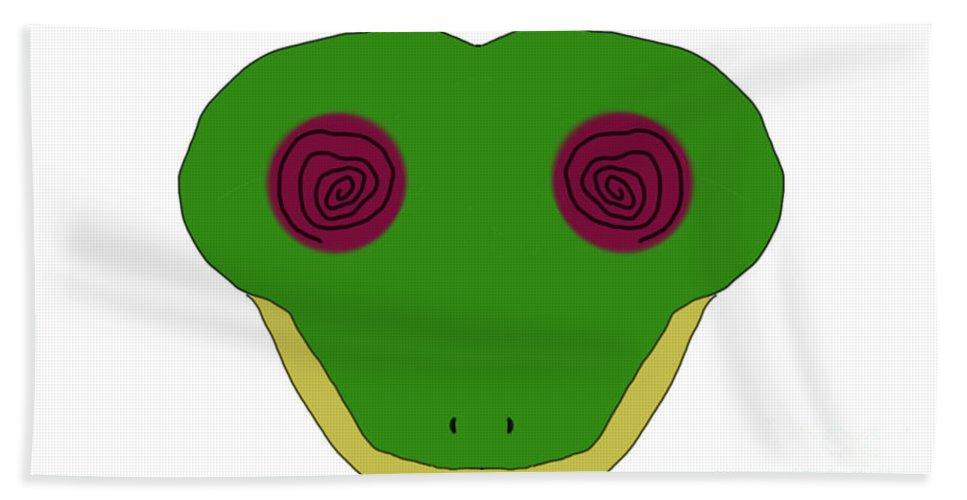 Impressionist Bath Sheet featuring the digital art Hypno Frog by George Pedro