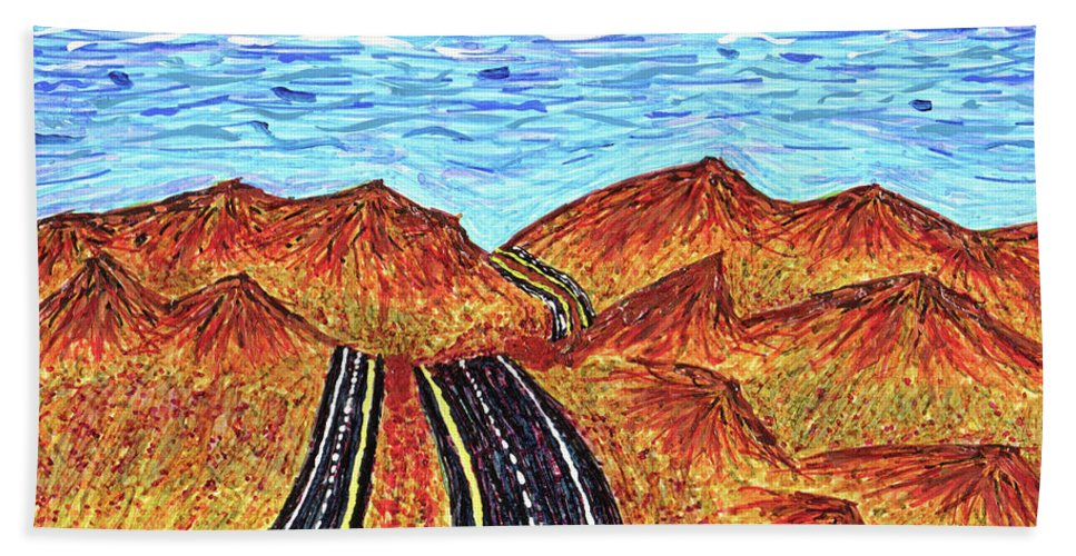 Roadtrip Bath Sheet featuring the drawing I - 15 Nevada To California by Carl Deaville