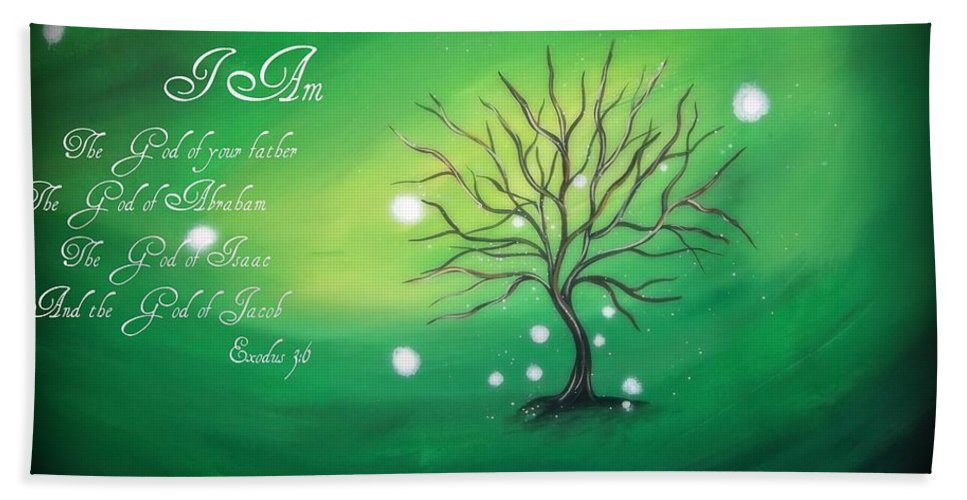 Tree Bath Sheet featuring the painting I Am by Katie Slaby