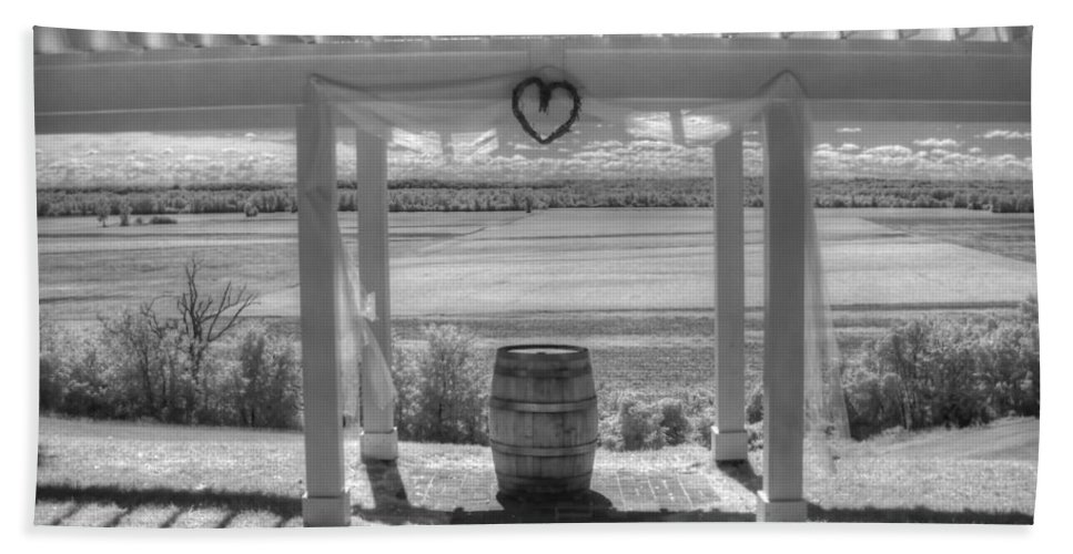 Augusta Missouri Bath Sheet featuring the photograph I Love Wine by Jane Linders
