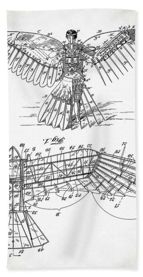 Icarus Patent Hand Towel featuring the digital art Icarus Patent 1889 by Bill Cannon