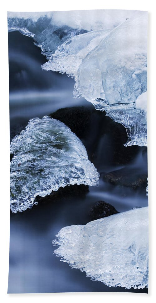 Fn Hand Towel featuring the photograph Ice Patches In Stream, Bavarian Forest by Heike Odermatt
