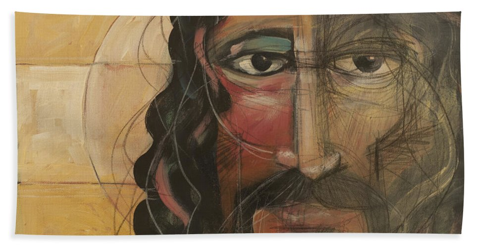 Icon Hand Towel featuring the painting icon no 4 revision A by Tim Nyberg