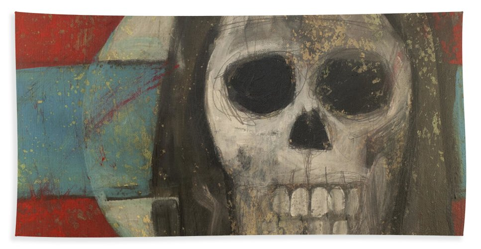 Skull Hand Towel featuring the painting Icon No 9 by Tim Nyberg