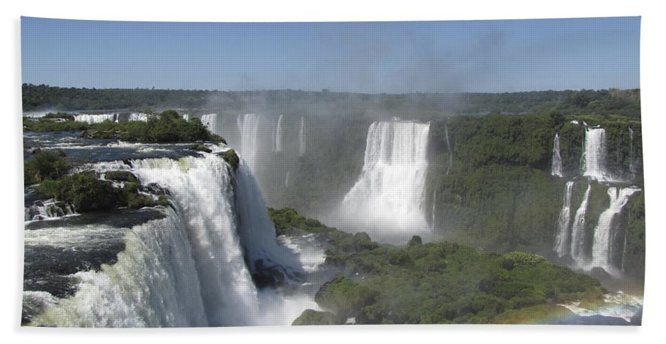 Iguazu Hand Towel featuring the photograph Iguazu Falls by David Gleeson