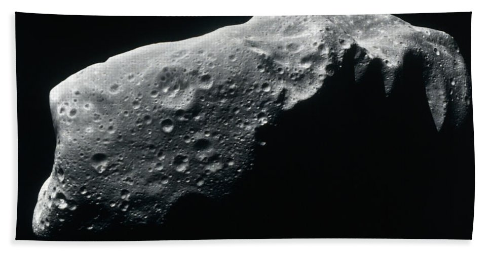 Black And White Bath Sheet featuring the photograph Image Of An Asteroid by Stocktrek Images