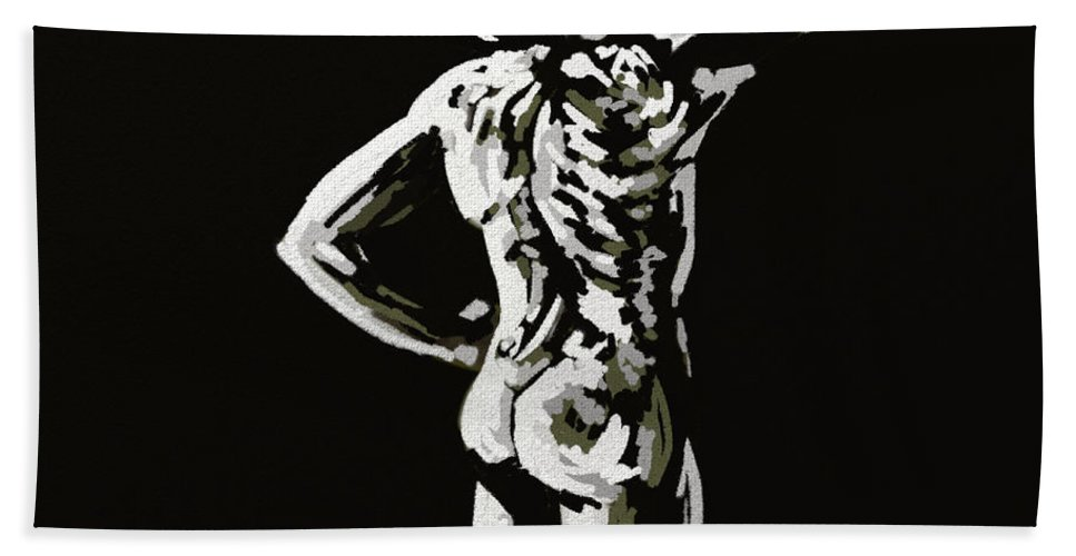 Figure Bath Sheet featuring the painting Imaginative Figure Drawing by Alban Dizdari