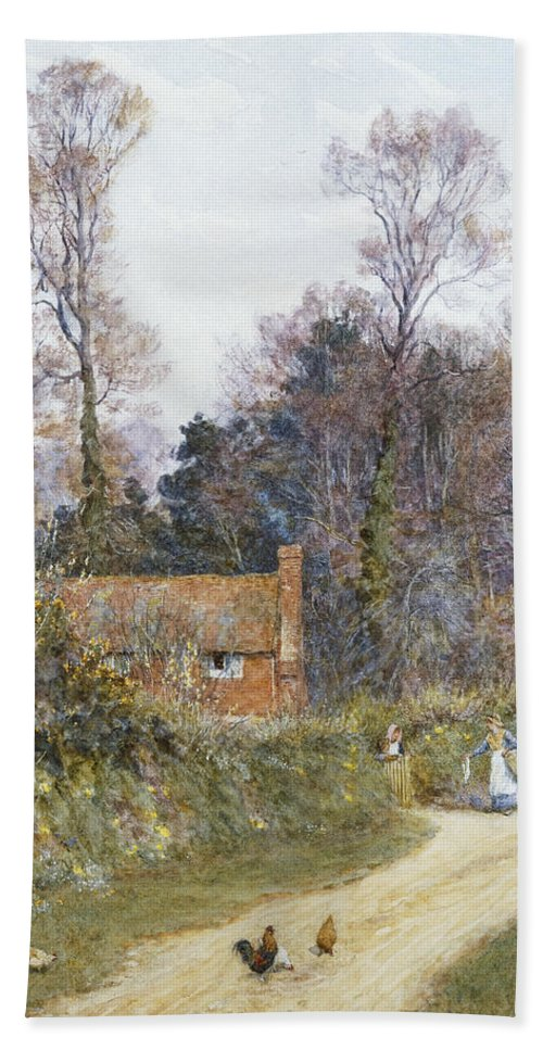English; Landscape; C19th; C20th; Victorian; Country; Road; Cottage; Female; Women; Gossiping; Chickens Hand Towel featuring the painting In A Witley Lane by Helen Allingham